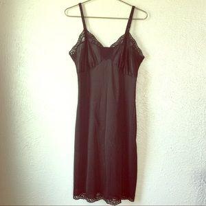 vintage black lace full slip dress